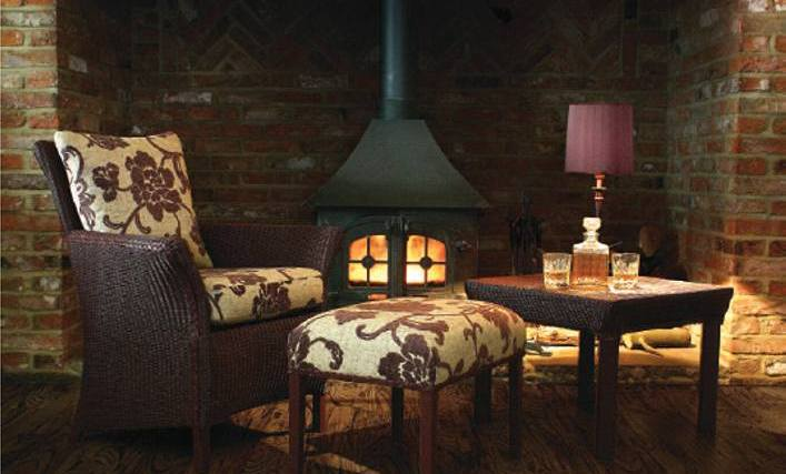 Cosy seating by a fireside