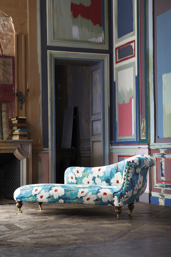 Impasto fabric by Harlequin on a chaise longue.
