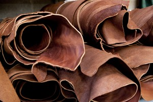 Rolls of real upholstery leather